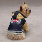 View Image 1 of Satin Bomber Dog Jacket - Dark Blue