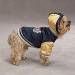 View Image 4 of Satin Bomber Dog Jacket - Dark Blue