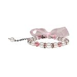 Satin Bow Pearl Dog Necklace - Pink
