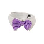 View Image 1 of Satin Dog Bowtie Collar - Lavender