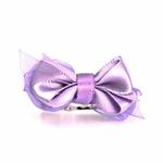 View Image 1 of Satin Dog Hair Bow with Alligator Clips - Lilac