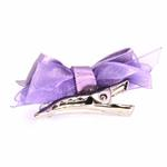 View Image 2 of Satin Dog Hair Bow with Alligator Clips - Lilac