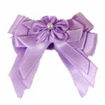 View Image 3 of Satin Handmade Dog Bow - Lavender