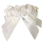 View Image 3 of Satin Handmade Dog Bow - White