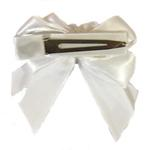 View Image 2 of Satin Handmade Dog Bow - White
