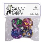 View Image 1 of Savvy Tabby Mylar Ball Cat Toy - 4 Pack