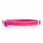 View Image 1 of Savvy Tabby Sparkle Paw Cat Collar - Raspberry