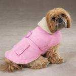 View Image 1 of Sherpa Corduroy Dog Coat - Pink