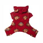 View Image 2 of Silly Monkey Fleece Hooded Dog Pajamas by Klippo - Red