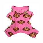 View Image 2 of Silly Monkey Fleece Hooded Dog Pajamas by Klippo - Pink