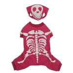View Image 2 of Skeleton Glow Bones Dog Costume - Pink