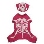 View Image 2 of Skeleton Glow Bones Dog Costume - Pink