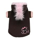 Skull Mohawk Dog Hoodie by Hip Doggie - Brown and Pink