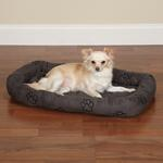 Slumber Pet Embroidered Paw Print Crate Beds - Charcoal