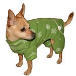 Snowflake Dog Long Johns by Hip Doggie - Green