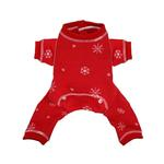View Image 1 of Snowflake Dog Long Johns Pajamas by Hip Doggie - Red