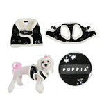 View Image 2 of Snowflake Dog Harness Vest by Puppia - Black