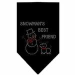 View Image 1 of Snowman's Best Friend Rhinestone Dog Bandana - Black