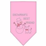 View Image 1 of Snowman's Best Friend Rhinestone Dog Bandana - Light Pink