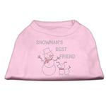 View Image 1 of Snowman's Best Friend Rhinestone Dog Shirt - Light Pink