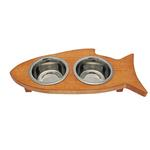 View Image 1 of Solid Wood Fish-Shaped Cat Feeder - Honey Pine