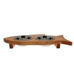 View Image 2 of Solid Wood Fish-Shaped Cat Feeder - Honey Pine