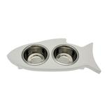 View Image 1 of Solid Wood Fish-Shaped Cat Feeder - Whitewash