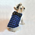 View Image 1 of Step In Wrap Dog Coat - Black and Blue Checkered
