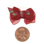 View Image 2 of Strawberry Dog Hair Bow with Alligator Clip - Red