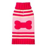 View Image 1 of Striped Bone Turtleneck Dog Sweater by Fab Dog - Pink