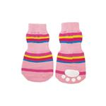 View Image 1 of Striped Slipper Dog Socks- Pink
