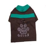 View Image 1 of Studded Paw Dog Shirt by Gooby - Brown
