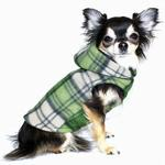 View Image 1 of Super Soft Polar Fleece Dog Hoodie - Green Plaid