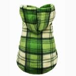 View Image 3 of Super Soft Polar Fleece Dog Hoodie - Green Plaid