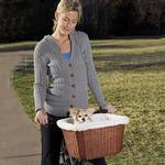 View Image 1 of Tagalong Wicker Bicycle Basket for Dogs