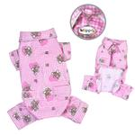Teddy Bear Love Flannel Dog Pajamas - Pink