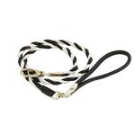 Twisted Tubular Italian Leather Dog Leash - White & Black