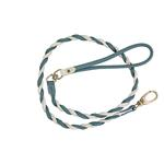 Twisted Tubular Italian Leather Dog Leash - White & Blue
