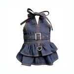 View Image 1 of V-Neck Denim Dog Dress with Neck Strap by Klippo
