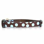 View Image 1 of WaLk-e-Woo Blue Dot on Brown Dog Collar