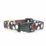 View Image 2 of WaLk-e-Woo Blue Dot on Brown Dog Collar