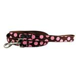 WaLk-e-Woo Pink Dot on Brown Dog Leash
