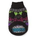 View Image 2 of Warm Hearts Dog Sweater - Black