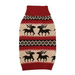 View Image 2 of Zack & Zoey Arctic Reindeer Dog Sweater - Red