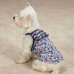 View Image 1 of Zack & Zoey Floral Denim Ruffle Dog Tank