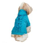 View Image 2 of Zack & Zoey Lucy Ruffle Dog Hoodie - Bluebird