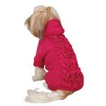 View Image 1 of Zack & Zoey Lucy Ruffle Dog Hoodie - Raspberry