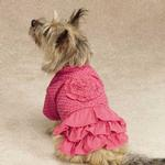 View Image 1 of Zack & Zoey Polka Dot Ruffle Dog Dress - Raspberry