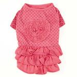 View Image 2 of Zack & Zoey Polka Dot Ruffle Dog Dress - Raspberry