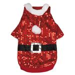 View Image 1 of Santa Claus Sequin Dog Hoodie